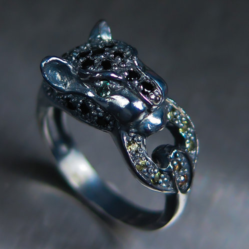 Natural Alexandrite & spinel 925 Silver / Gold/ Platinum panther ring