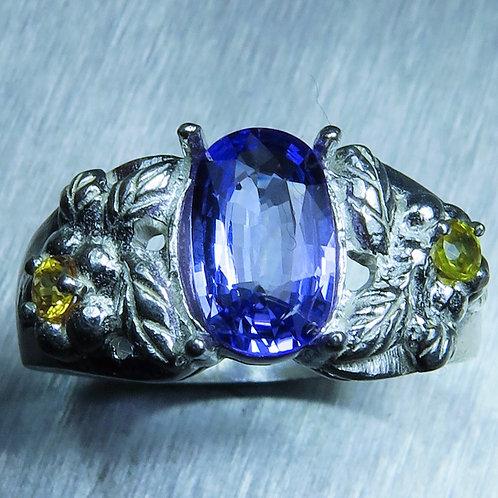 1.5ct Natural Purple blue Tanzanite 925 Silver / Gold/ Platinum ring