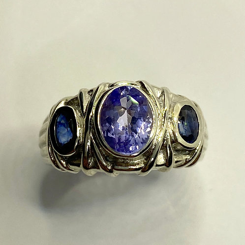1.3ct Natural Purple Blue  Tanzanite 925 Silver/ Gold/ Platinum unisex ring