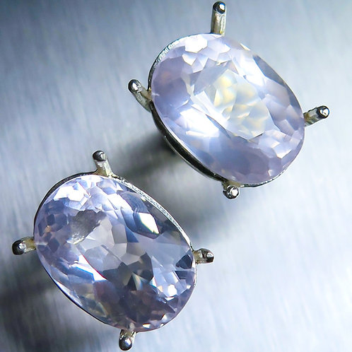12.1cts Natural pink rose quartz 925 Silver/ Gold/Platinum studs earrings