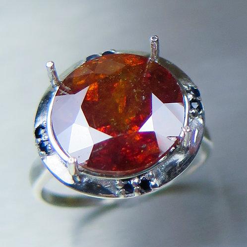 8.9ct Natural Orange Sphalerite 925 Silver / Gold/ Platinum ring