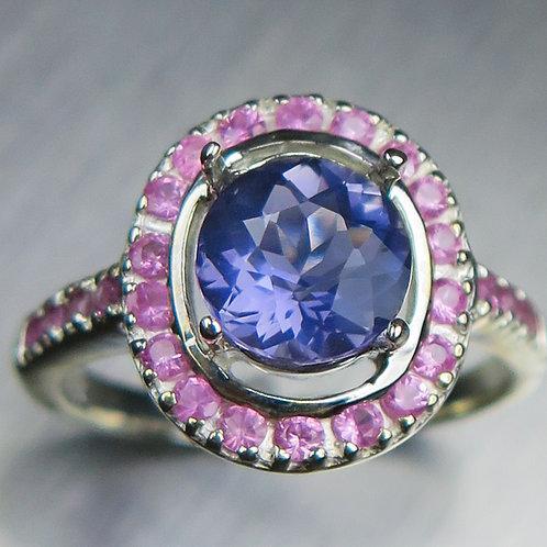 1.2ct Natural Purple blue Iolite 925 Silver / Gold/ Platinum ring