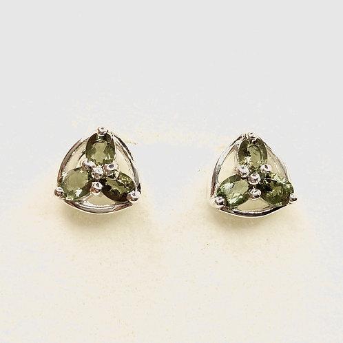 0.8ct Natural Olive green Moldavite Silver /Gold stud earrings
