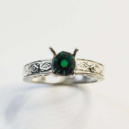 0.55cts Natural Green trapiche emerald 925 Silver / Gold/ Platinum unisex ring