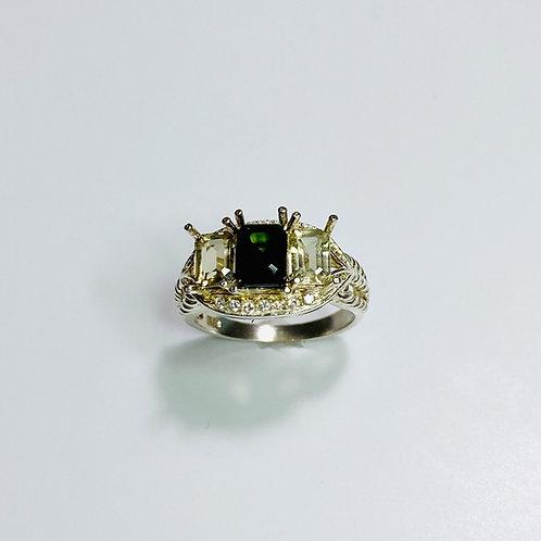 1.1cts RARE Natural dark green Epidote 925 Silver / Gold/ Platinum ring
