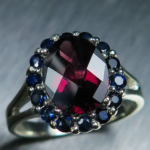 1.8ct Natural raspberry red rhodolite garnet 925 Silver / Gold/ Platinum ring