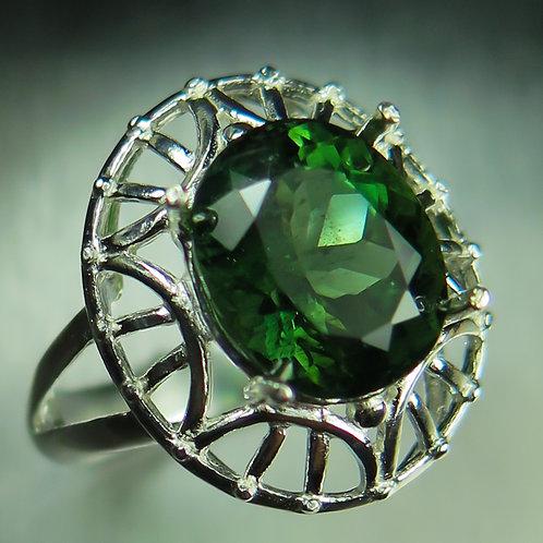 5ct Rare Natural green Apatite 925 Silver / Gold/ Platinum ring