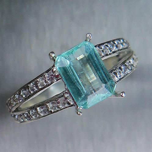 Natural Aquamarine paraiba blue Beryl Star 925 Silver / Gold/ Platinum ring