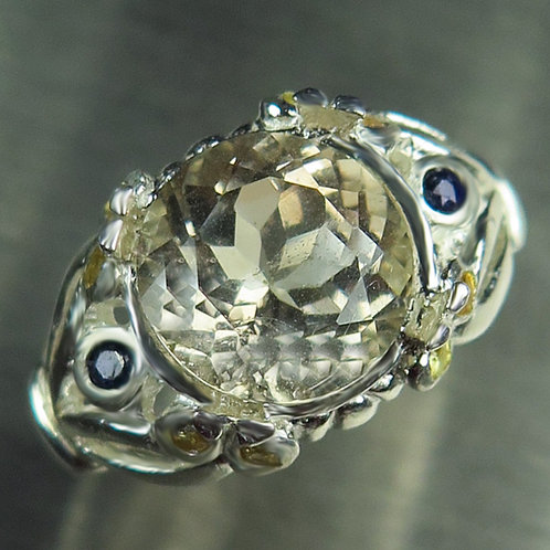 4.4cts Natural Imperial Champagne Topaz 925 Silver / Gold/ Platinum ring