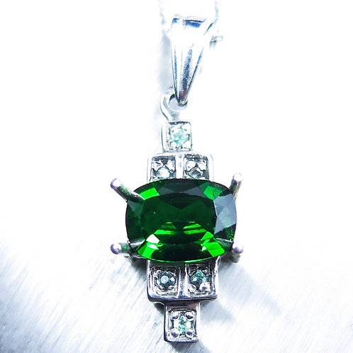 1.2ct Natural Green Chrome Diopside Silver / Gold / Platinum pendant