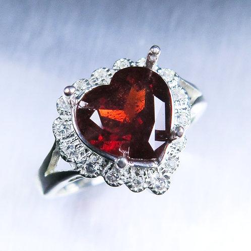 4.4ct Natural fire red Almandine garnet 925 Silver / Gold/ Platinum heart ring
