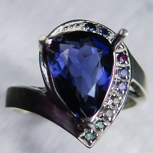 2.15cts Natural Purple Blue Iolite 925 Silver / Gold/ Platinum ring