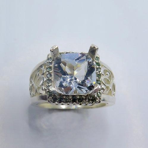 2.65ct Natural silver blue Aquamarine 925 Silver/ Gold/ Platinum ring