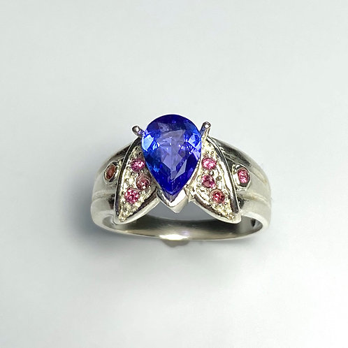 1.3ct Natural Violet Blue Tanzanite 925 Silver/ Gold/ Platinum ring