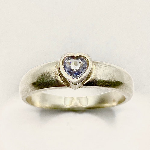 0.25ct Natural light blue heart Sapphire 925 Silver / Gold/ Platinum ring