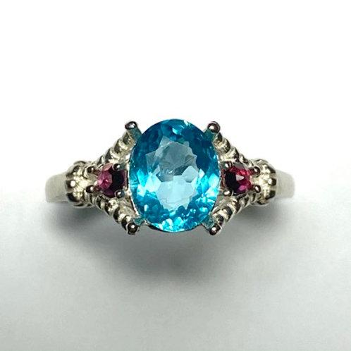 1.5cts Natural Paraiba blue Apatite 925 Silver/ Gold/ Platinum ring