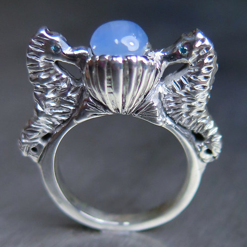 1.9ct Natural Sapphire 925 Silver / Gold/ Platinum seahorse ring