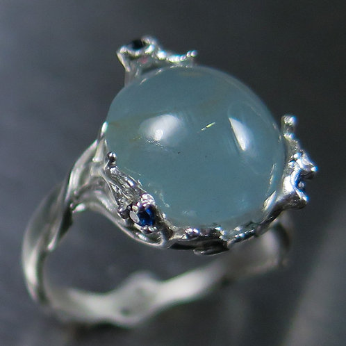 6.15cts Natural blue Aquamarine cats eye 925 Silver / Gold/ Platinum ring
