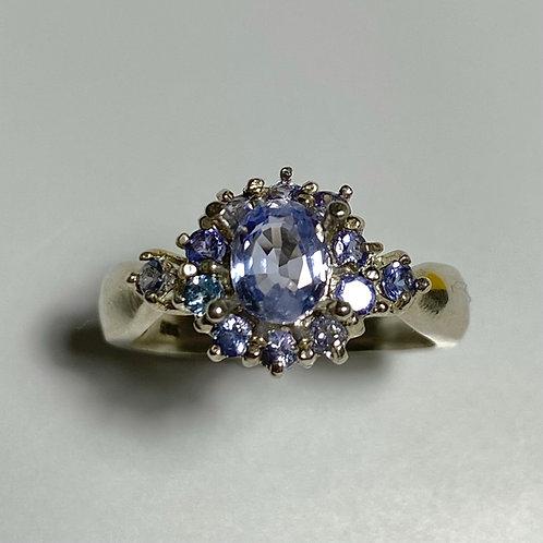 0.85ct Natural Blue purple Hackmanite 925 Silver/ Gold/ Platinum unisex ring