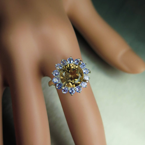 3.45cts Natural Imperial Topaz 925 Silver/ Gold/ Platinum ring