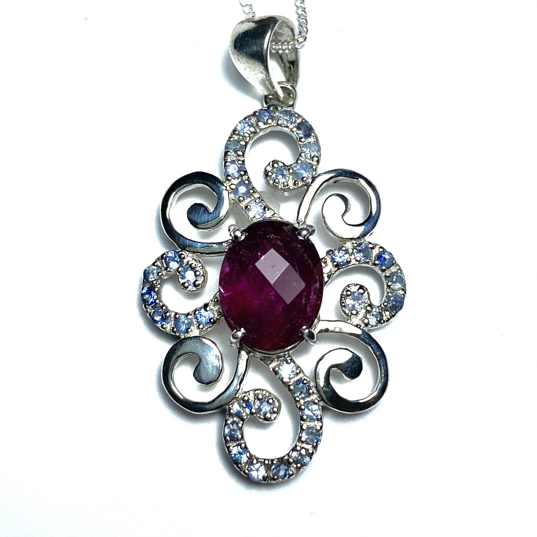Rubellite tourmaline & sapphires pendant