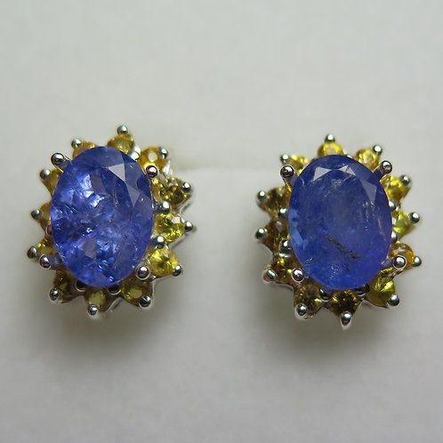 4.6ct Natural purple Tanzanite Silver /Gold / Platinum stud earrings