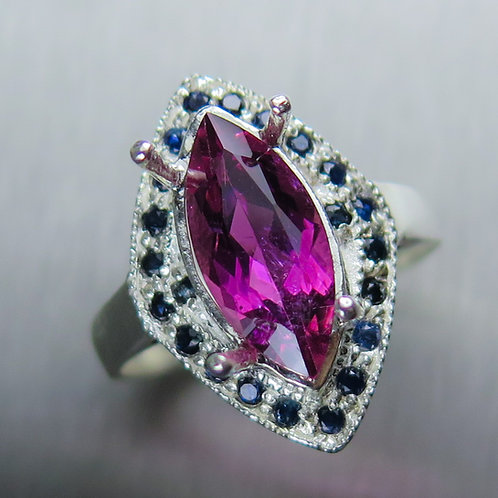 2.65ct Natural Tourmaline Rubelite 925 Silver / Gold/ Platinum ring