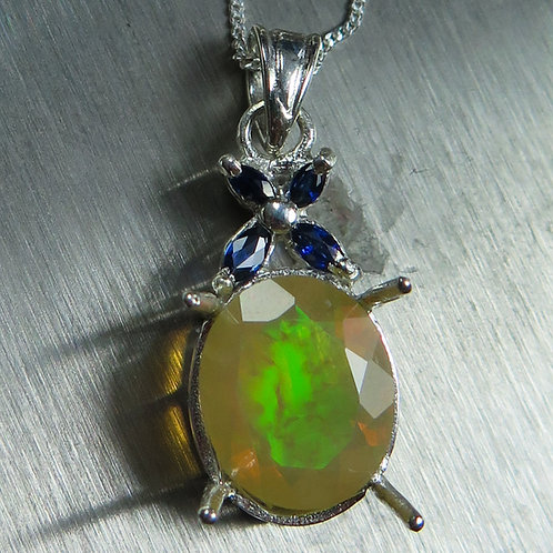 Natural Welo Opal rainbow Silver / Gold / Platinum pendant on chain