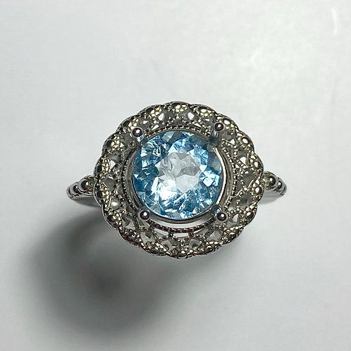 2.2ts Natural blue aquamarine Silver/ Gold /Platinum ring