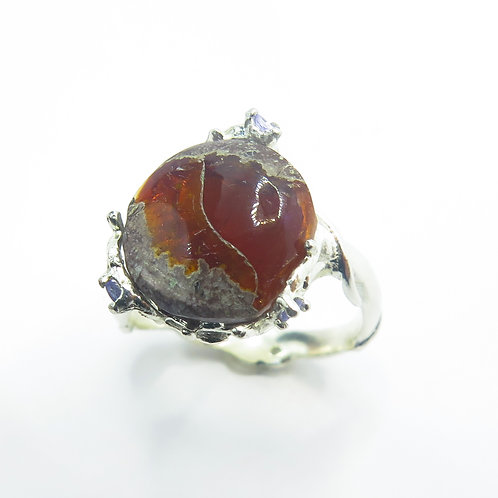 3.75ct Natural Mexican Fire Opal 925 Silver / Gold/ Platinum ring