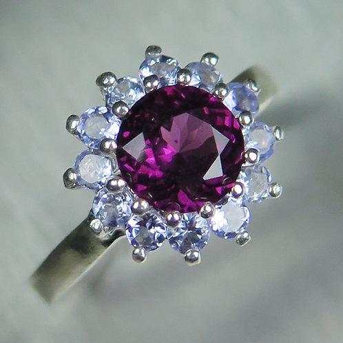 1.4cts Natural Raspberry Rhodolite Garnet 925 Silver / Gold/ Platinum ring