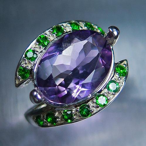 4.40cts Natural Brazilian Purple Amethyst 925 Silver / Gold/ Platinum ring