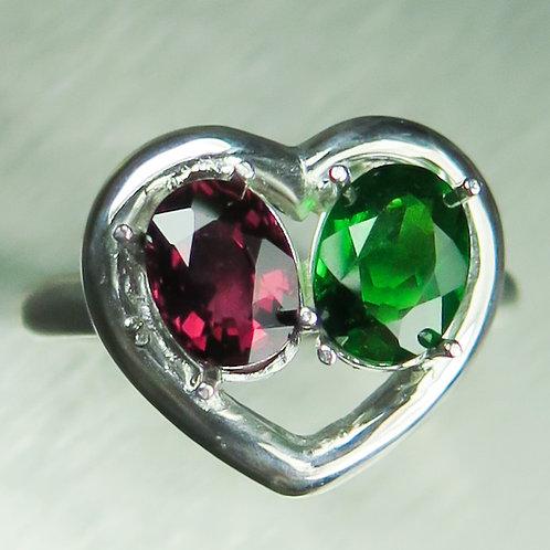 Natural Rhodolite Garnet & Chrome diopside 925 Silver / Gold/ Platinum ring