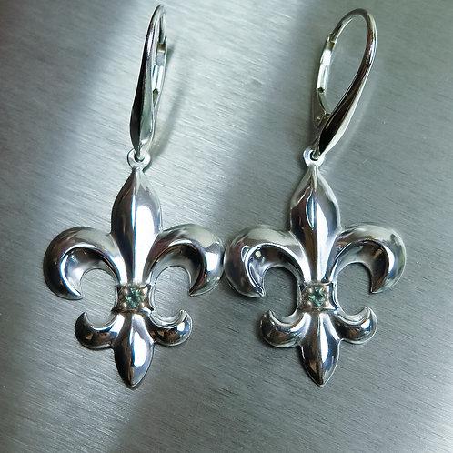Fleur De Lis Natural Alexandrite colour change Silver/ Gold drop earrings