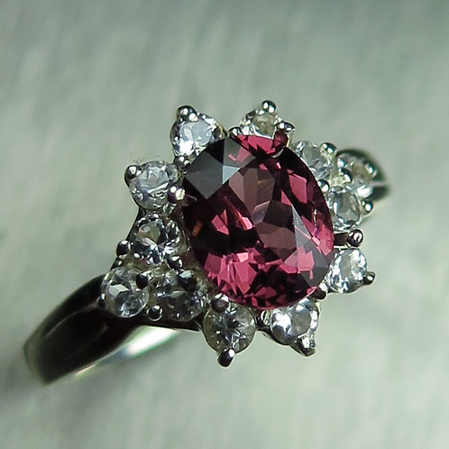 Natural Raspberry Umbalite Rhodolite Garnet 925 Silver / Gold/ Platinum ring