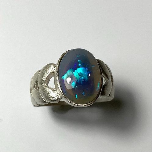 2.7cts Natural Australian Black Opal Silver / Gold / Platinum ring