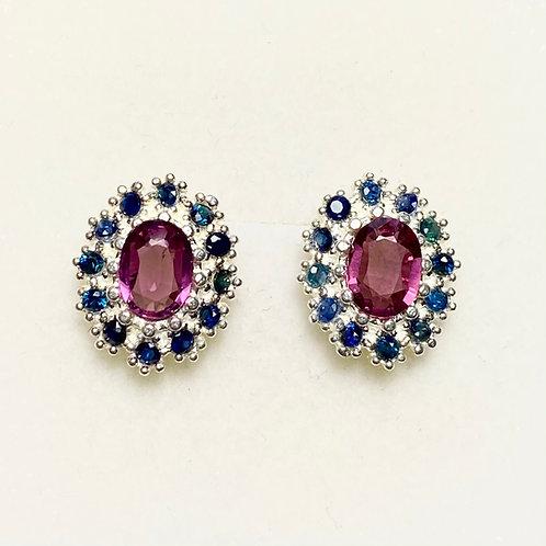 Natural Rhodolite Garnet 925 Silver/ Gold /Platinum earrings
