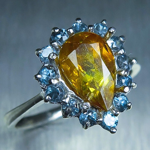 1.6ct Natural Golden yellow Sphalerite 925 Silver / Gold/ Platinum ring