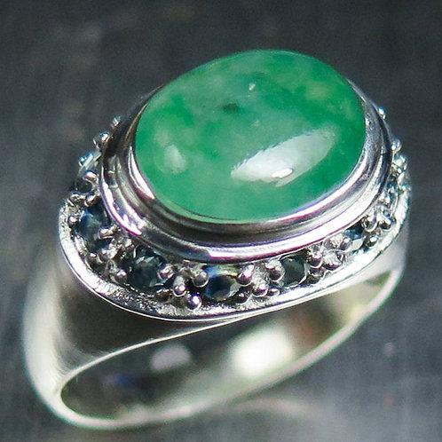 4.20ct Natural Green Jade 925 Silver / Gold/ Platinum ring