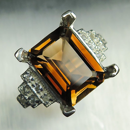 8cts Natural Imperial topaz peach brown 925 Silver/ Gold/ Platinum ring