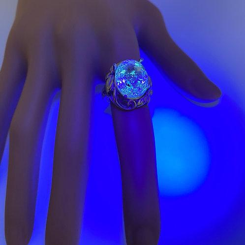 8.55ct Natural petroleum quartz Golden Enhydros 925 Silver ring