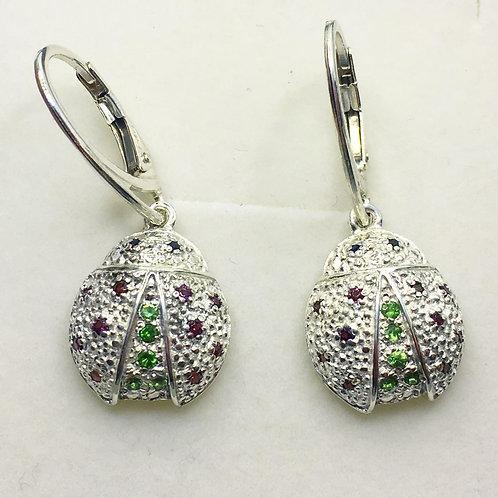 Natural Tsavorite, Rhodolite garnet Silver/ Gold ladybug ladybird earrings