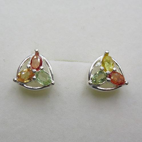 Natural Sapphires Silver/ Gold/Platinum clover stud studs ear