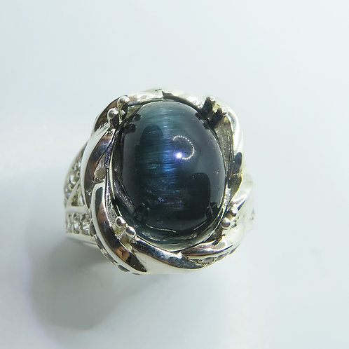 10.9ct Natural cats eye Tourmaline 925 Silver/ Gold/ Platinum ring
