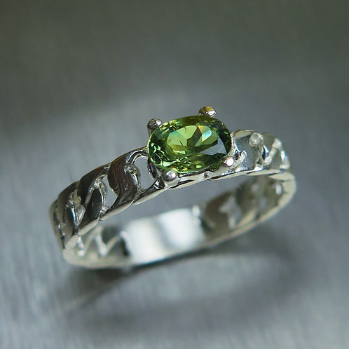Natural Demantoid Garnet 925 Silver / Gold/ Platinum unisex ring