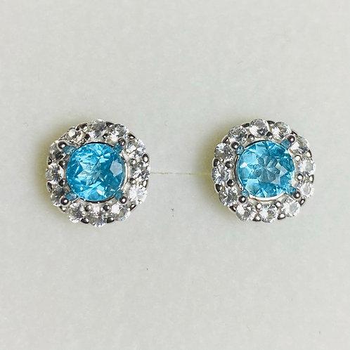 0.95ct Natural Paraiba Blue Apatite Silver /Gold bezel stud earrings