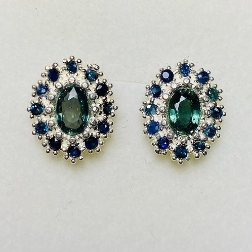 1.35ct Natural Teal Blue Sapphire Silver /Gold pear stud earrings