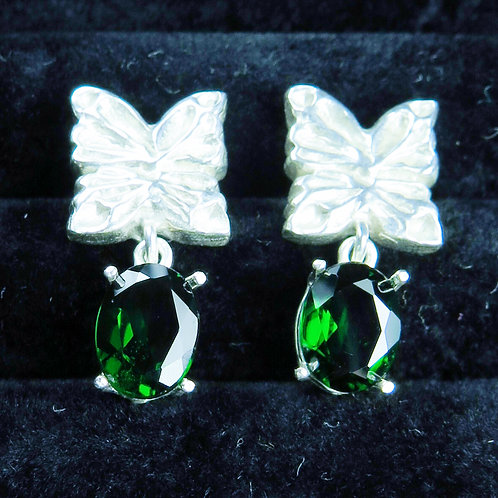 2.6ct Natural Chrome Diopside Silver /Gold / Platinum stud butterfly earrings