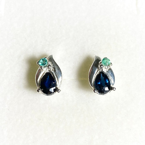 1ct Natural Royal Blue Sapphire Silver /Gold pear stud earrings