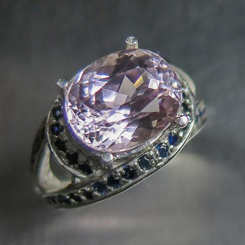 6.3ct Natural Pink Kunzite 925 Silver / Gold/ Platinum knit unisex ring